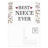 これまでに最高の姪の引用・ハート 公式ポストカードセットサンクスカード郵送側20個