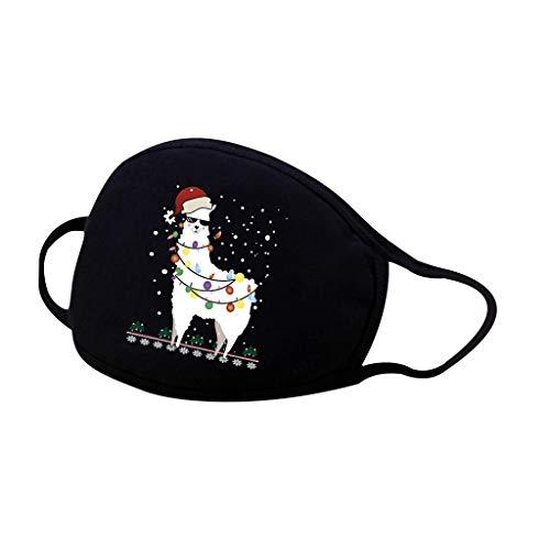 COMIOR 1/5 Stück Gemischte Baumwolle Mundschutz Kinder Schwarz Weihnachtsmann Druck Wiederverwendbar Waschbar Atmungsaktiv Face Cover für Alltag (1 Stück, A1)