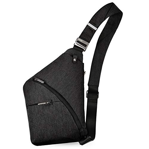 OSOCE Anti-Theft Waterproof Shoulder Backpack Sling Chest Crossbody Bag Cover Pack Rucksack Bicycle Sport (B13-2nd-Black)