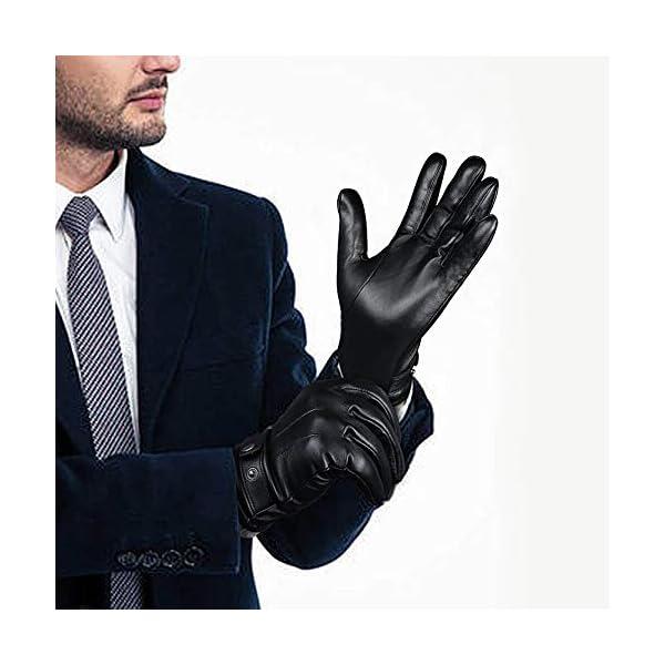 Ozero Nappa Leather Mens Winter Gloves 3