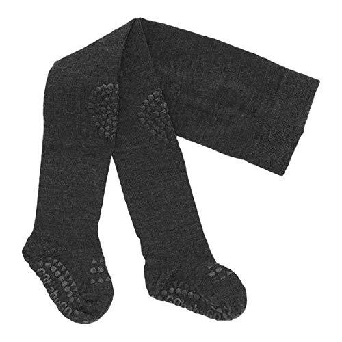 GoBabyGo Original Rutschfeste Baby Krabbel Strumpfhose | ABS Non-slip Unterstützung Für Aktive Kinder Im Krabbelalter | Superwasch Wolle | 6-12M (74-80cm) | Dark Grey Melange