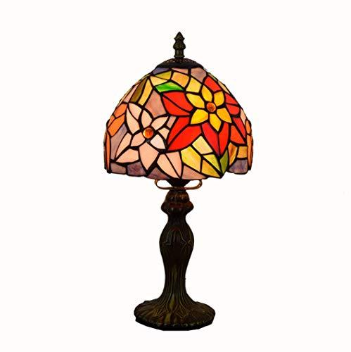 WFTD Lámpara de sobremesa Estilo Tiffany 8 Pulgadas de Vidrio Hecho a Mano lámpara de cabecera crisantemo patrón Base de Metal E27/E26 Bombilla Estilo mediterráneo lámpara de Escritorio