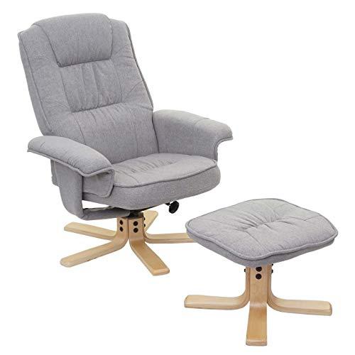 Mendler Relaxsessel M56, Fernsehsessel TV-Sessel mit Hocker, Stoff/Textil ~ hellgrau