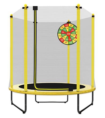 PILIN Trampolín de 1,4 m de diámetro x 1,7 m de Alto para Uso en Interiores y Exteriores con Red de Seguridad, Gran Regalo para niños en cumpleaños, Aniversario de Navidad (Amarillo)