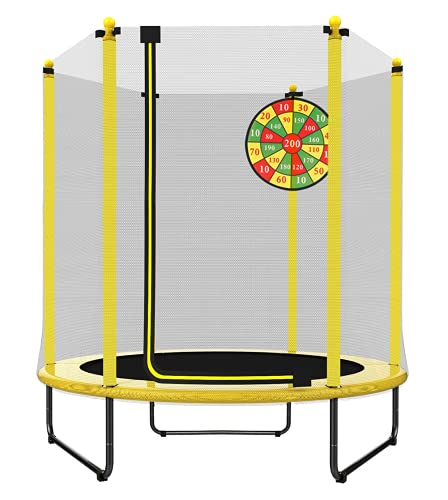 PILIN Diametro 1,4 m x 1,7 m di altezza trampolino per uso interno ed esterno, buon regalo di compleanno per bambini e neonati (giallo)