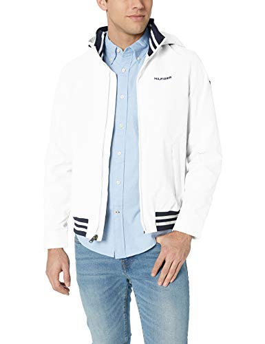 Tommy Hilfiger Men's Lightweight Waterproof Regatta Jacket, Bright White, Large