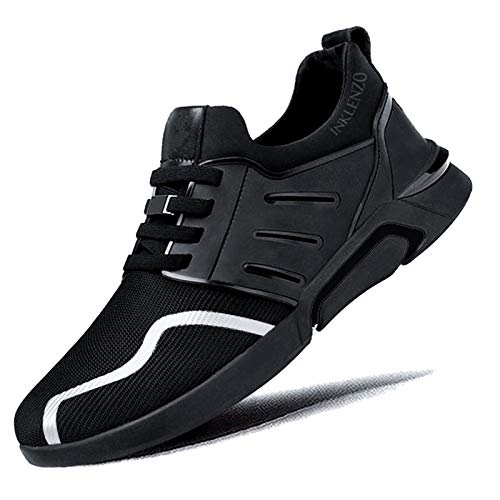 Inklenzo Men's Non Slip Gym Full Black Sneakers Shoe Lightweight Breathable Athletic Running Walking Tennis Shoes for Boys