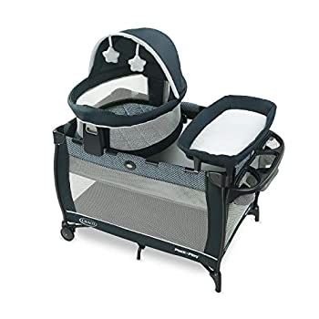 Graco Pack  n Play Travel Dome LX Playard | Includes Portable Bassinet Full-Size Infant Bassinet and Diaper Changer Leyton
