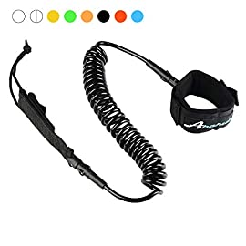 """Abahub Premium Coiled SUP Leash, Stand-up Paddleboard Legrope, 10 feet 7 mm Thick, Black/Blue/Clear/Red/Green/Orange… 9 WARRANTY: 100% Money-Back Guarantee, and 1 Year Warranty. FULL RANGE: Size options: 6 feet, 7 feet, 8 feet, 9 feet, 10 feet or 12 feet sizes; straight or coilded; Color options: Black, Blue, Green, Clear Red, Clear, Orange, Purple, or any color you want; We recommend choosing a leash length similar to the length of your surfboard/SUP. Please click on our brand name """"ABAHUB"""" to our amazon webstore for all the other options. STRONG and SAFE:  This leash is made of Super Strong 7 mm urethane cord, with molded-in double Stainless Steel swivels, plus a triple wrap rail saver."""