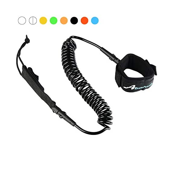 """Abahub Premium Coiled SUP Leash, Stand-up Paddleboard Legrope, 10 feet 7 mm Thick, Black/Blue/Clear/Red/Green/Orange… 1 STRONG and SAFE: This leash is made of Super Strong 7 mm urethane cord, with molded-in double Stainless Steel swivels, plus a triple wrap rail saver. COMFORTABLE AND EASY to USE: Made of elastic polyurethane. High Density Neoprene padded 1.5"""" Ankle Cuff has an easy pull tab with a hidden key pocket. DURABLE: Connection hardware made of durable stainless steel, which can be able to resist the sea water corrosion for a very long time"""
