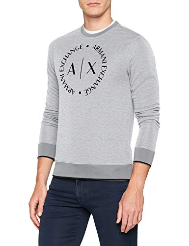 Armani Exchange Herren 1St to Be Noticed Sweat Sweatshirt, Grau (B09B Heather Grey 3929), Large (Herstellergröße:L)