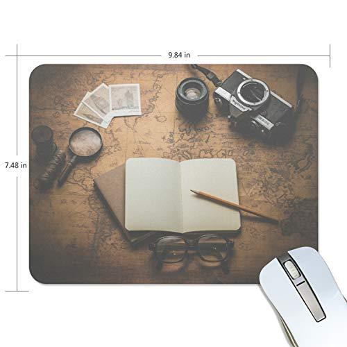FAJRO Kostenloses Foto von Kamera Notizbuch Muster Standard Computer Mauspad Schreibtisch-Mauspad Gaming Pad Anti-Rutsch-Gummi Unterlage und Jersey-Oberfläche für Büro, Zuhause