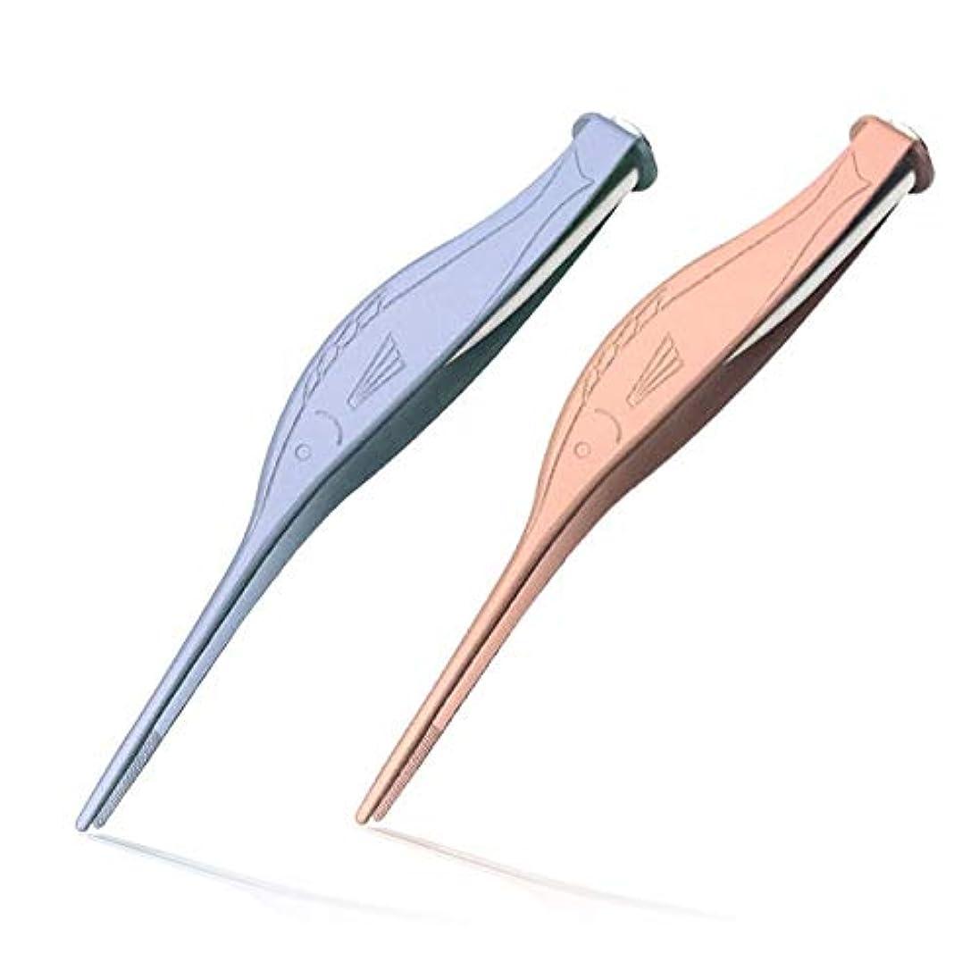 上がる粒報いるホットLED懐中電灯ステンレス耳かきクリーンピンセットツール耳鼻へそピンセット耳垢除去耳のケア (Color : Blue 1PC)