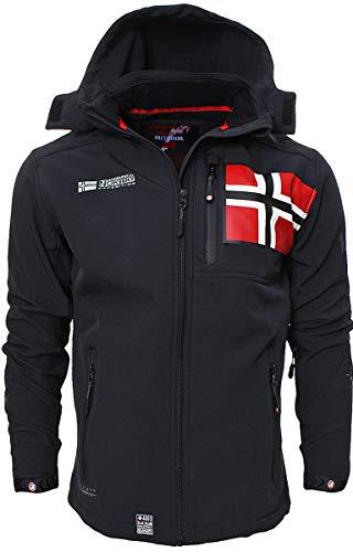 Geographical Norway - Chaqueta para hombre, chaqueta cortavientos, deportiva, para exteriores, Todo el año, Softshell Jacket, Hombre, color Negro , tamaño L