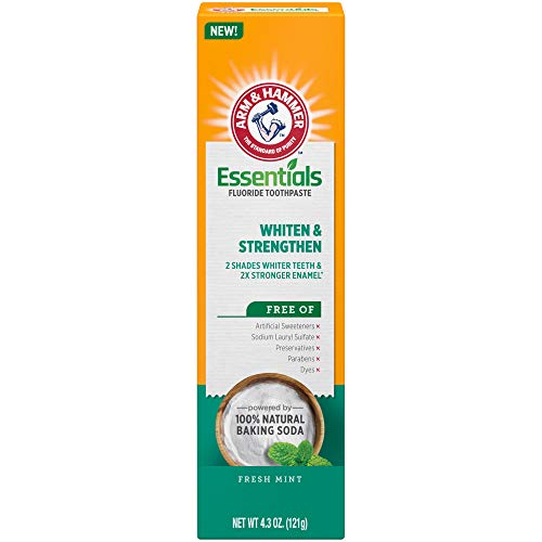 ARM & HAMMER Essentials Whiten & Strengthen Fluoride Toothpaste-4 Pack of 4.3oz Tubes, Fresh Mint- 100% Natural Baking Soda- Fluoride Toothpaste