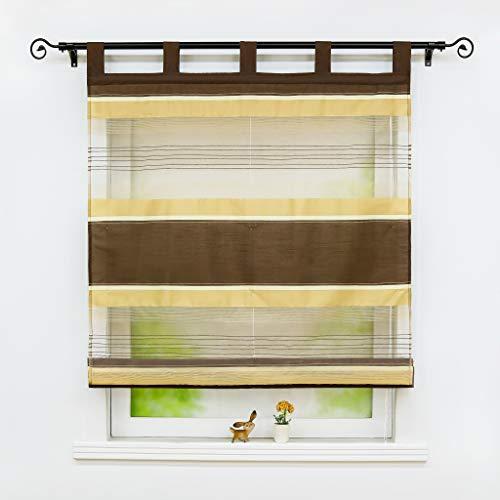 Joyswahl Voile Raffrollo Transparente Raffrollo mit Streifen Design Schals Raffrollo mit Schlaufen Fenster Vorhänge BxH 80x140cm Kaffee 1er Pack