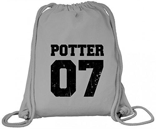 ShirtStreet Fanartikel Fan Kult Film Trikot Bio Baumwoll Turnbeutel Rucksack Gym Bag Potter 07, Größe: onesize,Heather Grey
