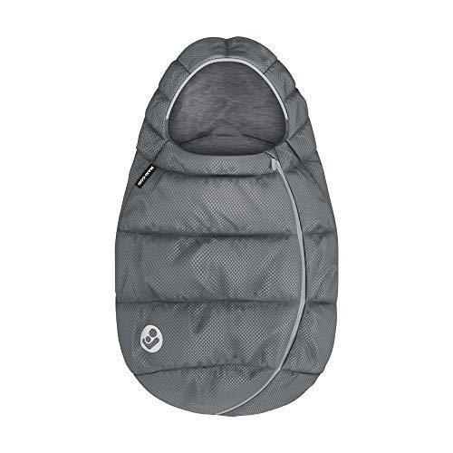 Maxi-Cosi Sacco invernale imbottito per ovetto e seggiolino auto per neonati Gruppo 0+, con cappuccio, colore Essential Grey