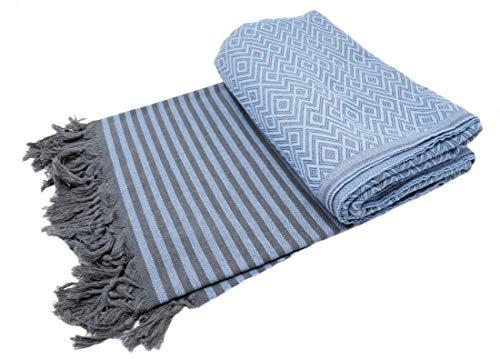 Bella Casa KELIM LUX Tagesdecke Bettüberwurf Überwurf Plaid Baumwolle 200x220 cm (Taubenblau)