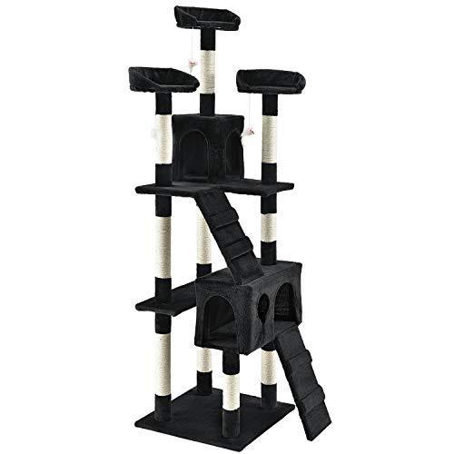 XXL Kratzbaum Amy schwarz – Katzenbaum mit Höhlen, Liegeflächen, Leitern & Sisal-Stämmen – Stabiler Kletterbaum für Katzen 170 cm hoch