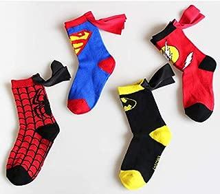 Cartoon Comic Superhero Socks - The Flash Design Children Cotton Socks Caped Crew Socks for Unisex Boys Girls (4-6 years old, 4 Pairs)