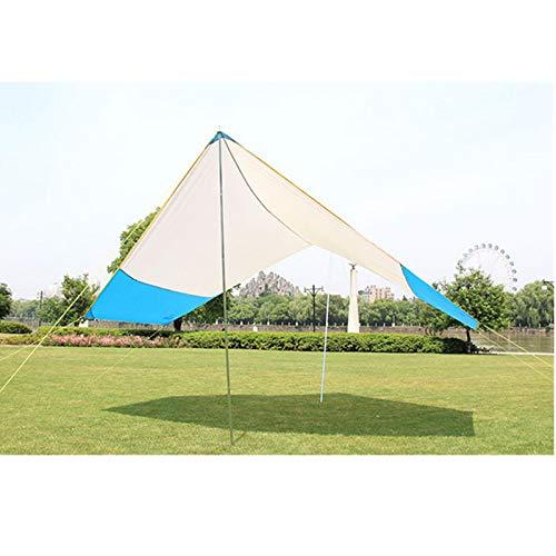 Sombra de Vela Solar 4-8 personas Camping al aire libre Sombrilla Playa Playa Tienda Sombrilla Tarpaulina incluyendo 2 vara de soporte de hierro Fácil de Usar ( Color : Azul , Size : 465X400X220cm )