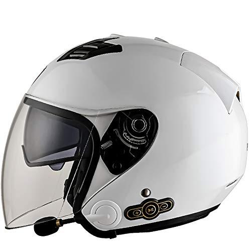 Bluetooth 3/4 Moto Jet Casco Retro Casco Moto Abierto Moto Casco de Cara con Doble Visera de Sol para Unisex/All Seasons Certificado ECE C,L