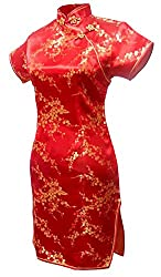 Women's Sexy Red Floral Mini Chinese Evening Dress Cheongsam