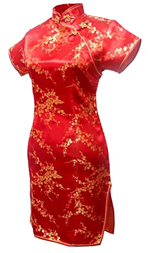 7Fairy Women's Sexy Red Floral Mini Chinese Evening Dress Cheongsam Size 4 US