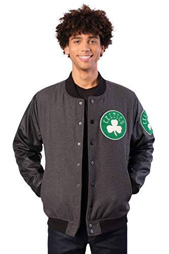 Ultra Game NBA Boston Celtics Mens Full Zip Classic Varsity Jacket, Charcoal Heather, Medium