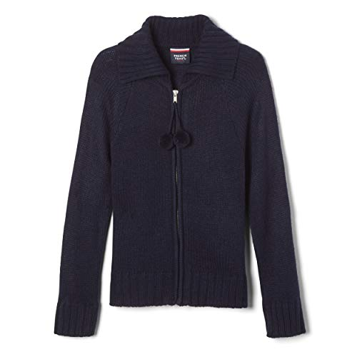 French Toast Little Girls Long Sleeve Pom Zip Front Sweater, Navy,  Small/6/6x