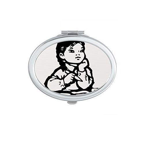 DIYthinker Meisje Pen Tafel Zwart Schets Patriottisme Ovaal Compact Make-up Spiegel Draagbare Leuke Hand Pocket Spiegels Gift