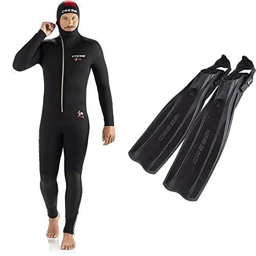 Cressi Diver Man Monopiece Wetsuit Traje De Buceo De Una Pieza, 5 Mm, Hombres, Negro/Rojo, L/4 + Pro Light Aletas, Unisex, Negro, M/L