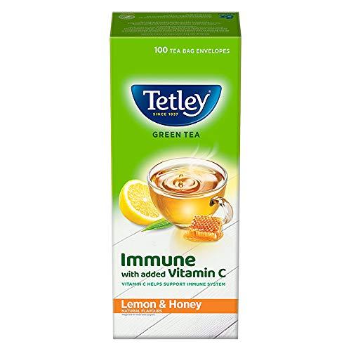 Tetley Green Tea Immune with Added Vitamin C, Lemon and Honey, 100 Tea Bags