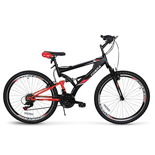 AKONZA Cobra 26' Mountain Bicycle Road Full Suspension 21-Speed Compatible Outdoor MTB Bike, Red/Black