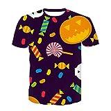 WLZQ Camiseta Estampada En 3D De La Serie Calavera De Halloween Camiseta De Manga Corta En 3D De Verano