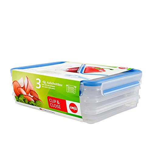 EMSA Aufschnittboxsystem, rechteckig 3x 1,0 Liter Clip Close 3D Wurstdose Käsedose Vorratsdose Aufschnittbox