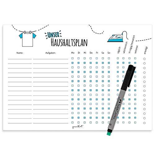 Haushaltsplan mit magnetischer Rückseite I dv_362 I DIN A4 I Whiteboard Putzplan abwischbar I To-Do-Liste für den Haushalt Familie WG
