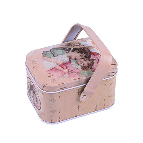 N / A 1 Pieza Caja de Metal Vintage Maleta pequeña Caja de Regalo de Dulces de hojalata Caja de Chocolate Caja de Almacenamiento Caja de Regalo de Boda 10.5x7.7x6 CM