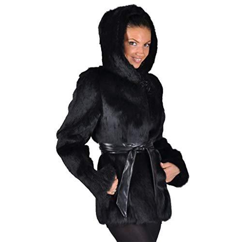 Lulupi Felljacke Damen Lange Warm Winterjacke Faux Fur Kunstfell Jacke Mantel Winterparka Flauschige Pelzjacke Pelzmantel mit Kapuze Gürtel