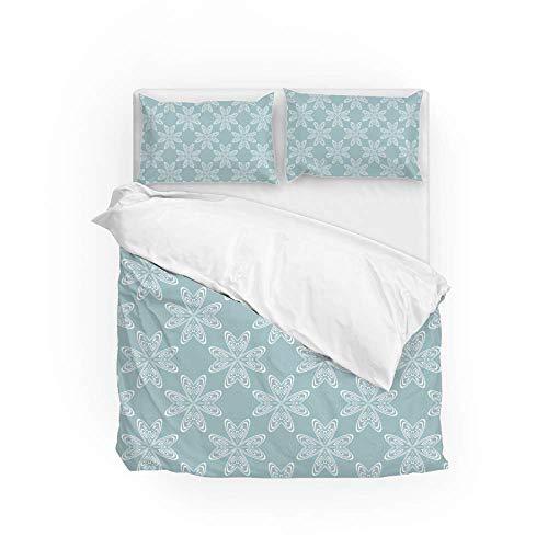 Soft Quilt Bedding Set Floral Opal Green Color Duvet Cover with Pillowcases 2 Pieces Set 135 x 200 CM,Single Size