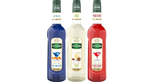 Teisseire Sirup Set French Sirop : Sirup le Blue (curacao) + Anis + Kandierter Apfel - 3 x 700ml