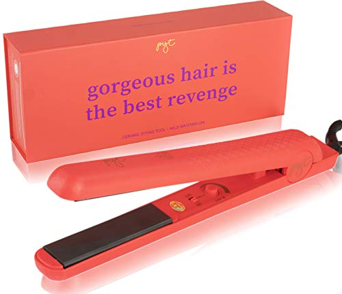 PYT Hair Straightener - Ceramic Flat Iron for Professional Styling. 150 W Power Output, Adjustable Temperature Suitable for All Hair Types. Straighten, Curl or Wave (Watermelon RED)