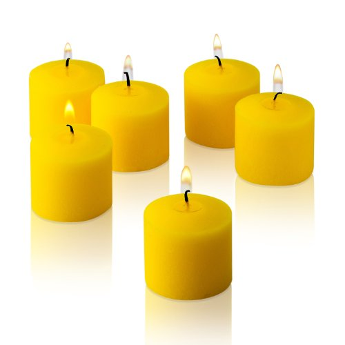 Light In The Dark Yellow Votive Candles - Box of 12 Unscented Candles - 10 Hour Burn Time - Candles for Weddings, Parties, Spas and Decorations