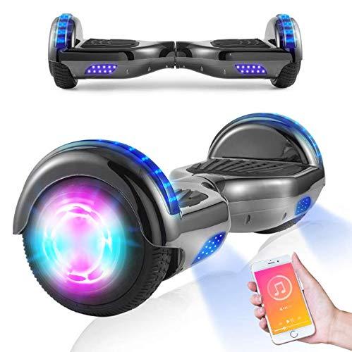 Hoverboards, Scooter autoequilibrado de 6.5'para niños, Scooter eléctrico Hoverboard Segway con Luces LED, Altavoz Bluetooth, Ruedas Intermitentes, los Mejores Regalos para niños (Gris)