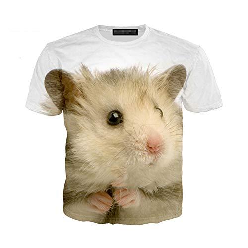 Animal Hamster Eating Pirate 3D Print Hombres Mujeres Camiseta de Manga Corta Top Streetwear de Gran tamaño 12 7XL
