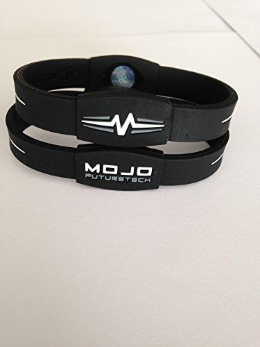 Mojo Elite - Braccialetto olografico doppio, 20,3 cm, colore: Nero/Bianco/Grigio