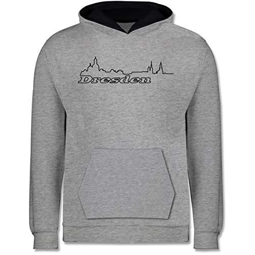 Städte & Länder Kind - Dresden Skyline - 152 (12/13 Jahre) - Grau meliert/Navy Blau - Dresden - JH003K - Kinder Kontrast Hoodie