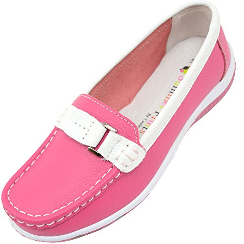 Ladies/Womens 100% Real Leather Slip On Summer/Holiday/Casual/Boat Shoes - Raspberry - US 8