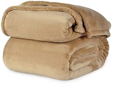 Berkshire VelvetLoft Polyester Blankets, Tan King
